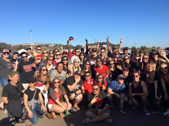 With old friends, and some new ones, at a tailgate for San Diego State's homecoming football game